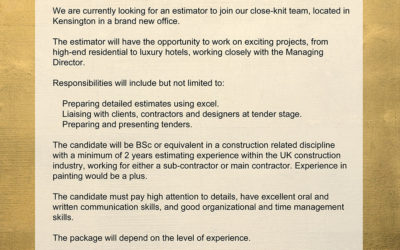 Estimator job offer | Hare & Humphreys